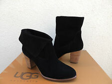 UGG THAMES BLACK SUEDE HIGH HEEL CUFFABLE ANKLE BOOTS, US 9.5/ EUR 40.5  ~NEW
