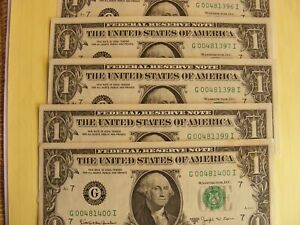 US Currency (5) 1963B $1 BARR notes- OLD paper UNC Chicago