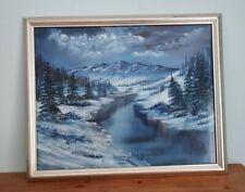 More details for original oil painting. framed snowscene in blues. signed. lake & mountain