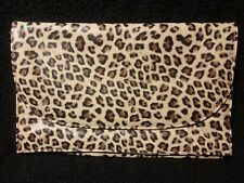 DOROTHY PERKINS leopard print faux leather brown cream clutch bag animal big cat