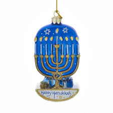 Hanukkah Menorah  Glass Ornament Kurt Adler Christmas
