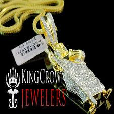 10K Yellow Gold On Silver Saint Jude San Judas Pendant Charm Simu Diamond +Chain