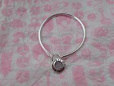 "Pandora Bracelet Silver Smooth, Signature Padlock Clasp  597092CZ 20cm=7.9"""