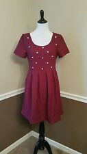 $74 Modcloth Unparalelled Panache Dress L Burgundy Pleated Pearls Retro Doe Rae