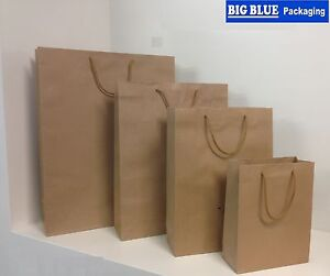 BAGS BROWN KRAFT PAPER 15 Gift Carry Shopping Bag rope Handle 500 x 380 x 130