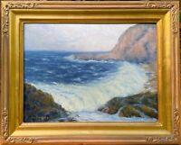 """Chet Bittner pupil of Bennett Bradbury Listed CA """"Morning Surf"""" oil on Board"""