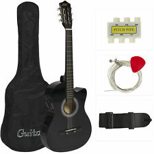 Electric Acoustic Guitar Cutaway Design With Guitar Case, Strap, Tuner Blac