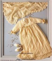 (690) 4ply Knitting Pattern for Baby Christening Dress and Shawl