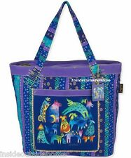 Laurel Burch Mythical Dogs Dancing Lg Tote Bag Outer Pocket Puppy Blue Purple NW