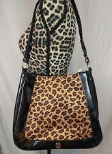 Liz Claiborne Black Patent Leather Leopard Print Handbag Purse Shoulder