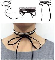 Bling rhinestone bowknot women choker jewelry lady pendant necklace free wear