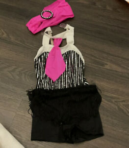 Jazz Musical Theatre Pink Black Fringe Dance costume