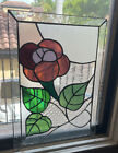 Gorgeous  Floral Design Stained  Glass Window Panel 19.5 X 14 Inches Violet