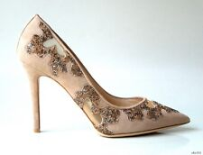 new $1495 JIMMY CHOO Karmel nude suede mesh JEWELED stiletto pump shoes 36.5 6.5