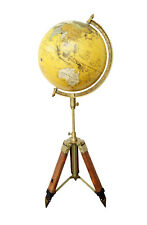 """Antique Finish Nautical 12"""" World Globe With Leather Stand Home Decorative Gift"""