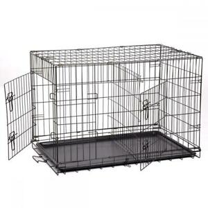 48-42-36-30-24-Pet-Kennel-Cat-Dog-Folding-Crate-Wire-Metal-Cage-W-Divider