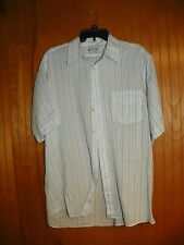The American Edition Collection Size 17.5 Short Sleeve White Striped Shirt