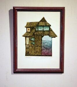 "modern surreal color etching framed under glass  ""Wake up"""