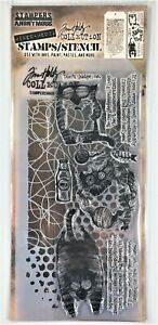 Tim Holtz Stampers Anonymous Doodle & Bubble Mixed Media Stamp & Stencil Set Cat