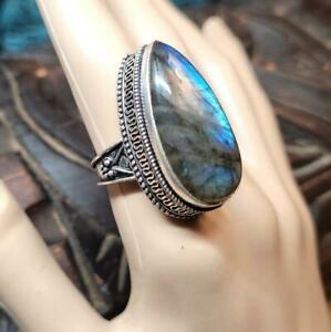 Size 9 Metaphysical Labradorite Spiritual Healing 925 Silver & Gemstone Ring ☮☪