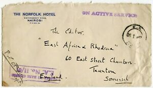KENYA WW2 NORFOLK HOTEL ENV OAS + CENSORED to E.AFRICA RHODESIA GAZETTE TAUNTON