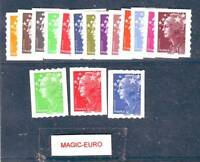 FRANCE 2008 MARIANNE AND EUROPE ADHESIVE COMPLETE SET 16 VALUES - RARE