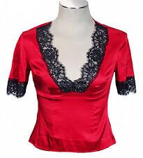 NEW Moda International - 92% Silk Stretch Red Top w/ Black Lace Trim - Blouse S