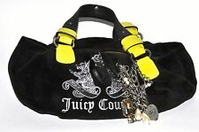 Juicy Couture Dark Brown Velour & Lime Scottie Daydreamer Tote Bag w/Charms