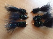 6 Black Fritz Brass Head Trout Flies Lure Buzzers New