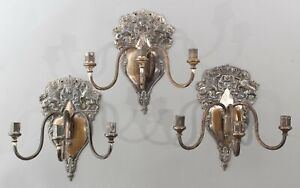 3 Large Antique Sheffield Silver on Copper, Silver Plate Triple Candle Sconces
