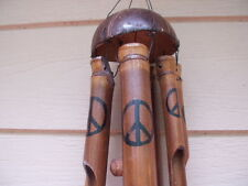 Bamboo Wind Chimes Painted Peace Sign Symbol Coco Top FREE SHIP