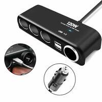 4 Ports Car Cigarette Lighter Adapter Socket Splitter+Dual USB Charger Extension