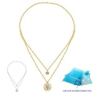 Doppel Anhänger Halskette Edelstahl Silber Gelbgold Zirkonia Kristalle Damen