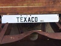 Vintage Porcelain Texaco Inc Lease Gas Oil Strip Sign Original