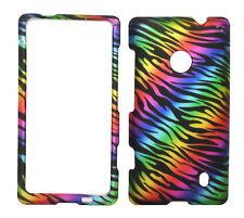 Dark Rainbow Zebra Rubberized Protective Cover Case for Nokia Lumia 521 520