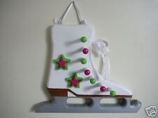 Wooden Ice Skate Medal Display, Citrus Green/Fus. Pink