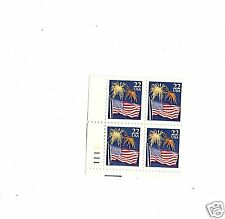 SCOTT#2276 AMERICAN FLAG AND FIREWORK  NUMBERED PLATE BLOCK FOUR