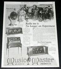 1925 OLD MAGAZINE PRINT AD, MUSIC MASTER RADIO, NO LONGER AN EXPERIMENT, ART!