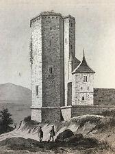 Tour de François 1er AUTUN Saône-et-Loire Gravure sur acier XIXe