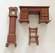 Dolls House Wooden Furniture Bundle Grandfather Clock/ Cabinet/ Chair