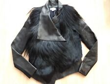 HELMUT LANG black leather and fur Combo asymmetric front coat jacket Small BNWT