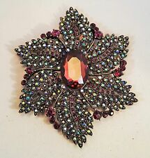 Joan Rivers Statement Brooch  Bronze Plated With Purple Iridescent Crystals