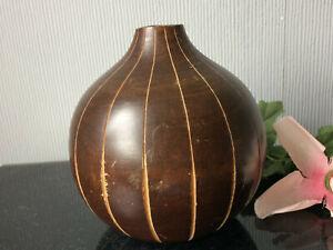 Wooden Decorative Vase Carved Stripe Rustic Bud Slim Neck Bottle Craft Handmade