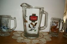 Vintage Schmidt Beer Pitcher And Four Collector Series Mugs