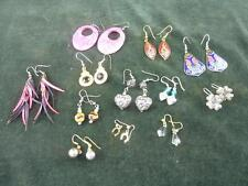 vintage job lot of 12 pairs hooked  earrings rhinestone , pink ,flowers