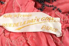 Antique Rue De La Paix Paris France Beaded Flapper Dress Cutter Red 20s Art Deco