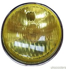 VESPA COMPLETE HEADLIGHT 115MM DIA VESPA 125 150 GS HOLDER YELLOW LENS ITALIAN