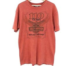 Harley-Davidson T-Shirt Men's Size Large 110 Years Milwaukee Red Corpus Christi