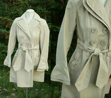 NWT New LAUNDRY BY DESIGN Beige TRENCH COAT Double Breasted Interesting Detail S