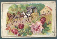 Chromo Maison des abeilles fleurs rose chevaux attelage diligence